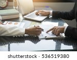 businessman businesswoman point ... | Shutterstock . vector #536519380
