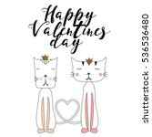happy valentines day card with... | Shutterstock .eps vector #536536480