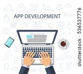 app development concept. flat... | Shutterstock .eps vector #536537776