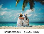 happy loving couple on tropical ... | Shutterstock . vector #536537839