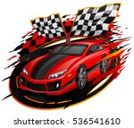 speeding racing car with... | Shutterstock .eps vector #536541610