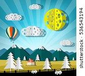 paper cut landscape. vector... | Shutterstock .eps vector #536543194