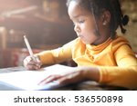 profile of little african girl... | Shutterstock . vector #536550898