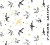 swallow bird vector pattern | Shutterstock .eps vector #536555908
