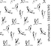 japanese crane bird pattern. | Shutterstock .eps vector #536557690