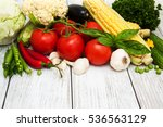 fresh vegetables as a frame on... | Shutterstock . vector #536563129