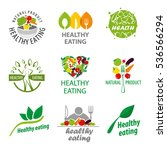 vector logos healthy food ... | Shutterstock .eps vector #536566294