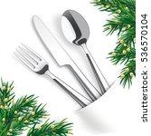 silverware with white napkin... | Shutterstock .eps vector #536570104