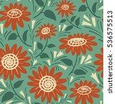 decorative vector sunflowers...   Shutterstock .eps vector #536575513
