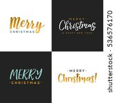 merry christmas typographic set.... | Shutterstock .eps vector #536576170