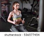beautiful muscular fit woman... | Shutterstock . vector #536577454