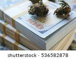 marijuana buds on stacks of ten ... | Shutterstock . vector #536582878