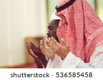 two religious muslim man... | Shutterstock . vector #536585458