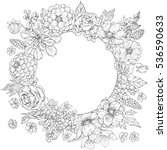 hand drawn doodle floral round... | Shutterstock .eps vector #536590633