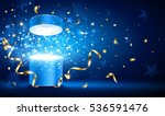 open gift with gold ribbons and ... | Shutterstock .eps vector #536591476