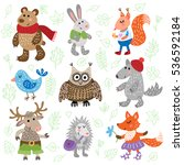 set of nine cute forest animals ... | Shutterstock . vector #536592184