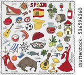 Spain Doodles Elements Icon...
