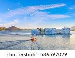 taj lake palace on lake pichola ... | Shutterstock . vector #536597029