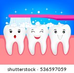 happy cute cartoon tooth with... | Shutterstock .eps vector #536597059