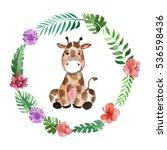 Stock photo cute baby giraffe animal for kindergarten nursery children clothing pattern 536598436