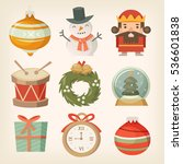 retro christmas decorations and ... | Shutterstock .eps vector #536601838