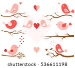 stylized birds in pink and tree ... | Shutterstock .eps vector #536611198