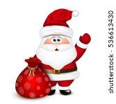 Santa Claus With A Bag. Vector...