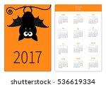 pocket calendar 2017 year. week ... | Shutterstock .eps vector #536619334