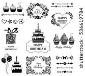 birthday elements. hand drawn... | Shutterstock . vector #536619784