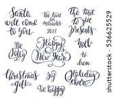 set of christmas lettering.... | Shutterstock .eps vector #536625529