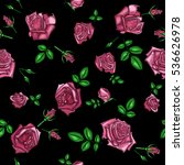 embroidery pattern with roses... | Shutterstock .eps vector #536626978