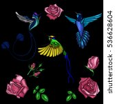 rose and bird embroidery.... | Shutterstock .eps vector #536628604