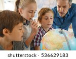 teacher with kids in geography... | Shutterstock . vector #536629183