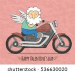 cupid rides on a cool motorcycle | Shutterstock .eps vector #536630020