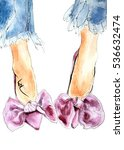 Pink Purple Velvet Shoes With...