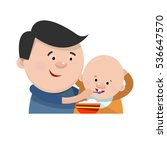 father feeding a small child... | Shutterstock .eps vector #536647570