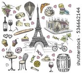 Set Of Hand Drawn French Icons...