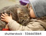 Stock photo adorable little boy with fluffy cat outdoors closeup 536665864