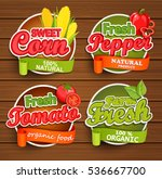 farm fresh  organic food label  ... | Shutterstock .eps vector #536667700