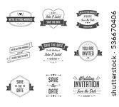 set of wedding badges. retro... | Shutterstock .eps vector #536670406