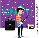 musician playing the guitar.... | Shutterstock .eps vector #536674450