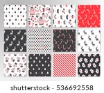 Christmas set of vector hand drawn seamless patterns with deer, santa, christmas tree, snowflakes, triangle, polka dot. New Year set of backgrounds in hipster style.