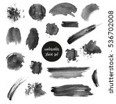 collection of black watercolor... | Shutterstock . vector #536702008