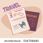 passport with biometric data... | Shutterstock .eps vector #536708680