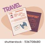 passport with biometric data... | Shutterstock .eps vector #536708680