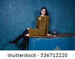 sexy brunette businesswoman... | Shutterstock . vector #536712220