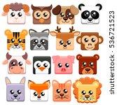 Cute cartoon animals head square shape.  Bear, cat, dog, pig, rabbit, cow, deer, lion, sheep, tiger, owl, panda, raccoon, monkey, penguin, hare, fox