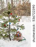 decorated christmas tree in a... | Shutterstock . vector #536722390