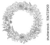 hand drawn round floral frame.... | Shutterstock .eps vector #536723920