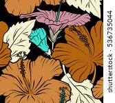 hibiscus vector pattern on a...   Shutterstock .eps vector #536735044